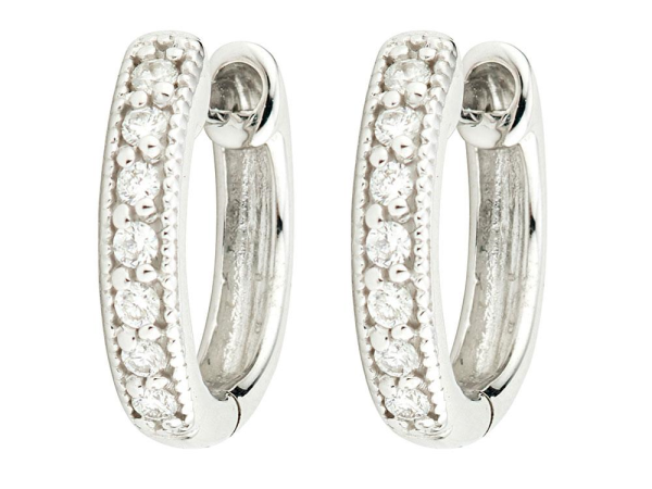 Closeup photo of  DIAMOND HUGGIE HOOP EARRINGS