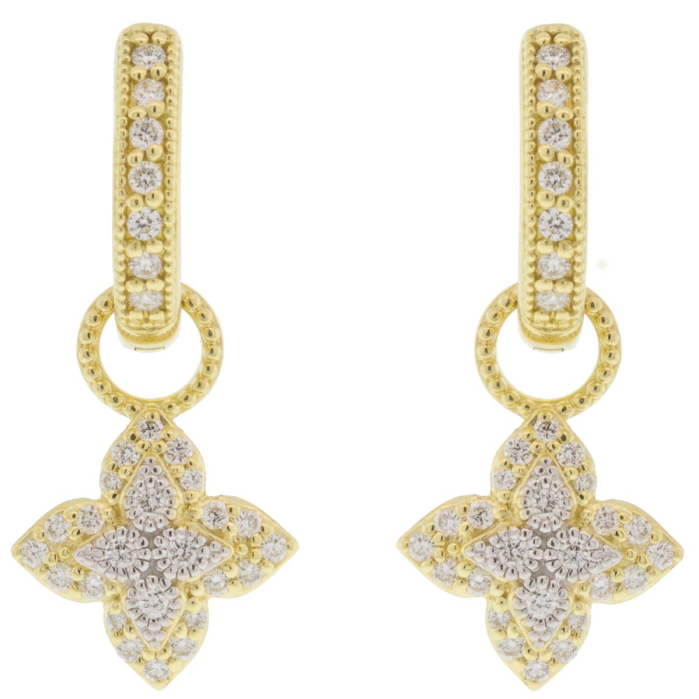 MOROCCAN SMALL PAVE FLOWER EARRING CHARMS
