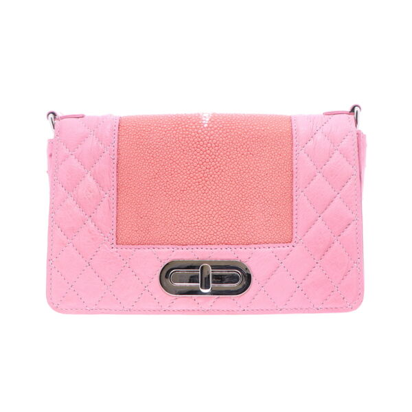 Closeup photo of Pink Ostrich and Stingray Chain Bag