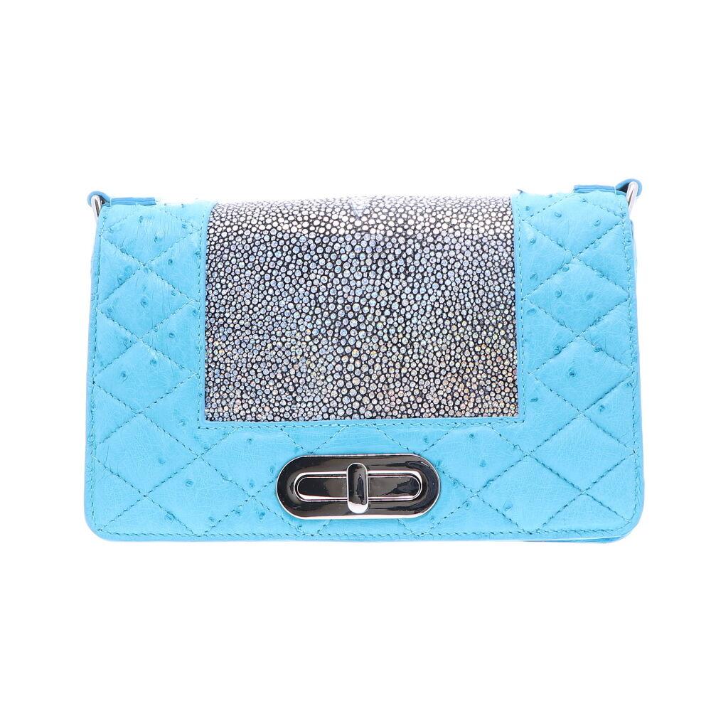 Baby Blue Ostrich Chain Bag