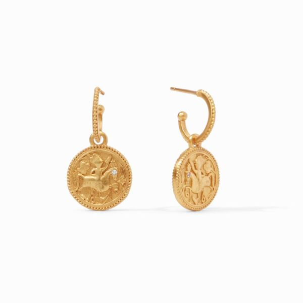 Closeup photo of Coin Hoop & Charm Earring