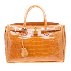 Closeup photo of Classic Caramel Alligator Satchel in Glazed Finish