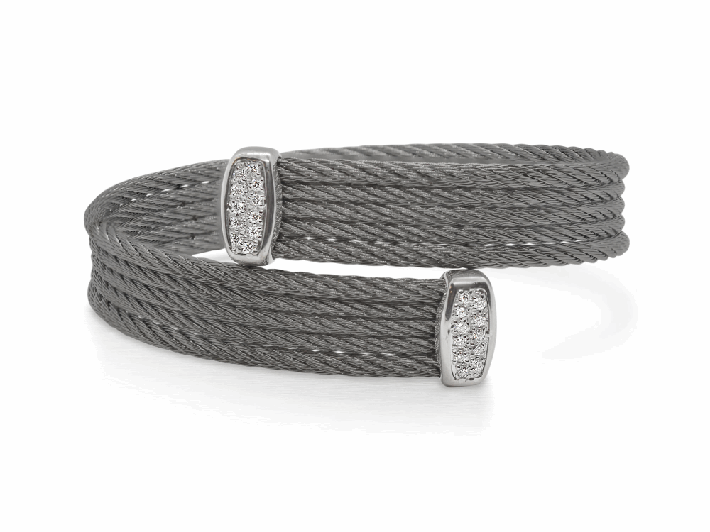 Steel Grey Cable Bypass Bracelet with 18tk White Gold & Diamonds – ALOR