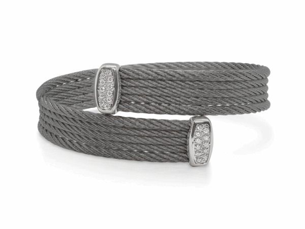 Closeup photo of Steel Grey Cable Bypass Bracelet with 18tk White Gold & Diamonds – ALOR