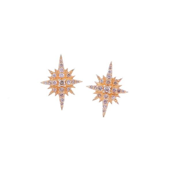 Closeup photo of 14k Diamond Star Studs