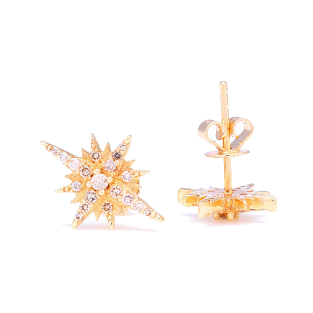 Image 2 for 14k Yellow Gold Diamond North Star Stud Earrings