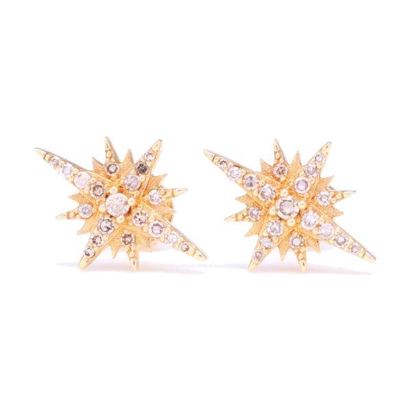 Closeup photo of 14k Yellow Gold Diamond North Star Stud Earrings