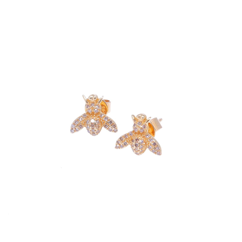 14k Yellow Gold Diamond Bee Studs