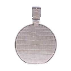Closeup photo of Beige Alligator Round Chain Bag