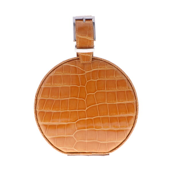 Closeup photo of Caramel Alligator Hat Box Chain Bag