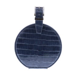 Closeup photo of Slate Blue Alligator Hat Box Chain Bag