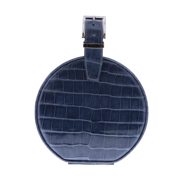 Closeup photo of Slate Blue Alligator Hat Box Chain Bag