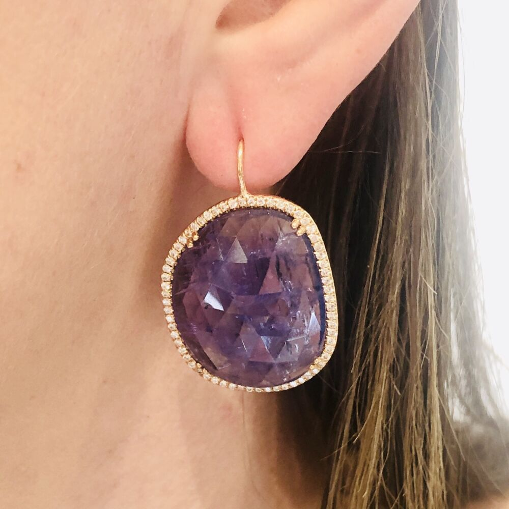 Image 2 for Halo Set Rough Tanzanite Earrings in 18k Rose Gold