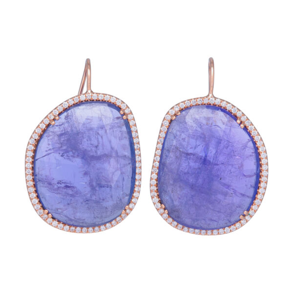 Closeup photo of Halo Set Rough Tanzanite Earrings in 18k Rose Gold