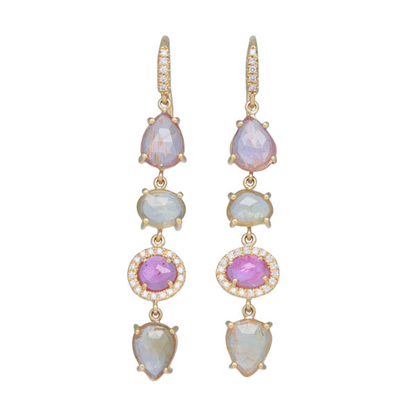 Closeup photo of 18k Yellow Gold Halo Set Pastel Sapphire Dangle Earrings