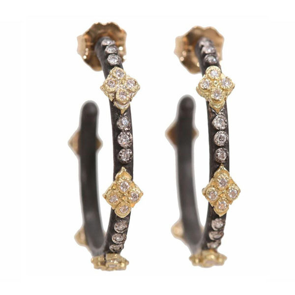 Closeup photo of Old World Cravelli Crosses Small Hoop Earrings With Diamonds