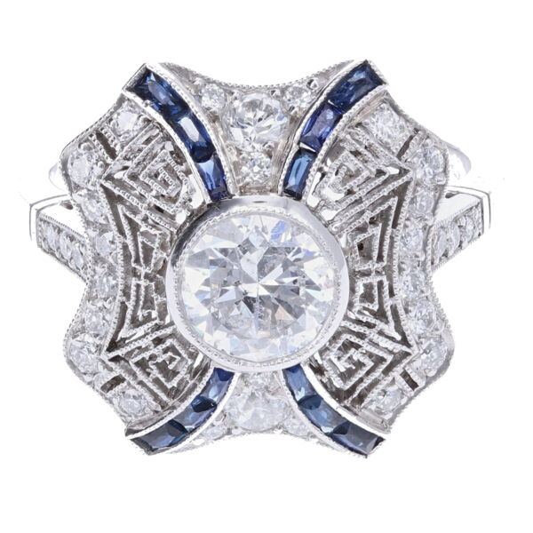Closeup photo of Platinum Art Deco .96ct Round Brilliant Diamond & .42tcw Sapphire Ring, s6.5