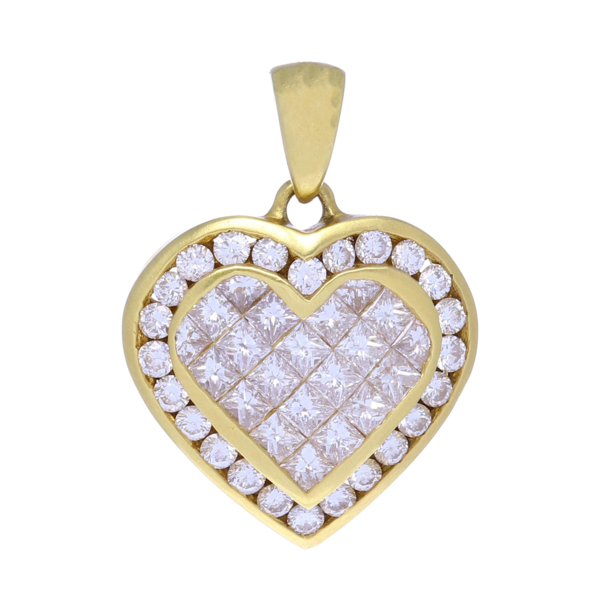 Closeup photo of 18K Diamond Heart Pendant