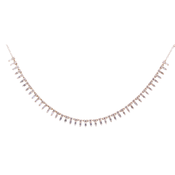 Closeup photo of 18 inch 14K Yellow Gold and Diamond Baguette Choker Necklace. 3.34ct diamonds