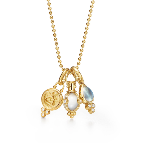 18K Yellow Gold Three Charm Necklace