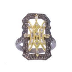 Closeup photo of Scalloped Rectangular Ring