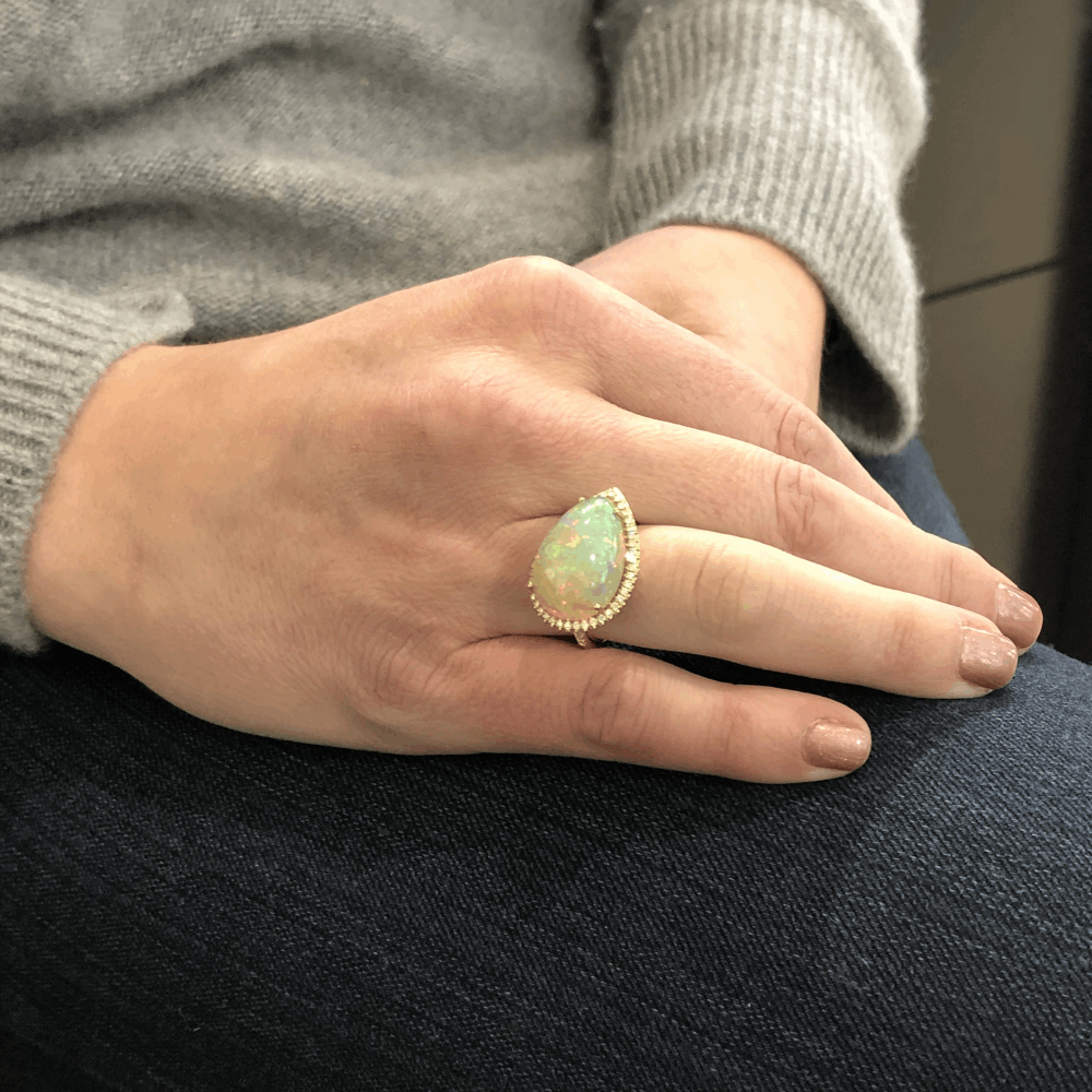 Image 2 for 18k Tear Drop Cabochon Ethiopian Opal Ring with Diamond Halo