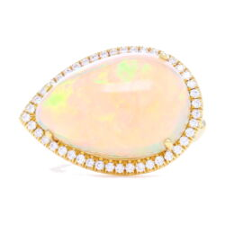 Closeup photo of 18k Tear Drop Cabochon Ethiopian Opal Ring with Diamond Halo
