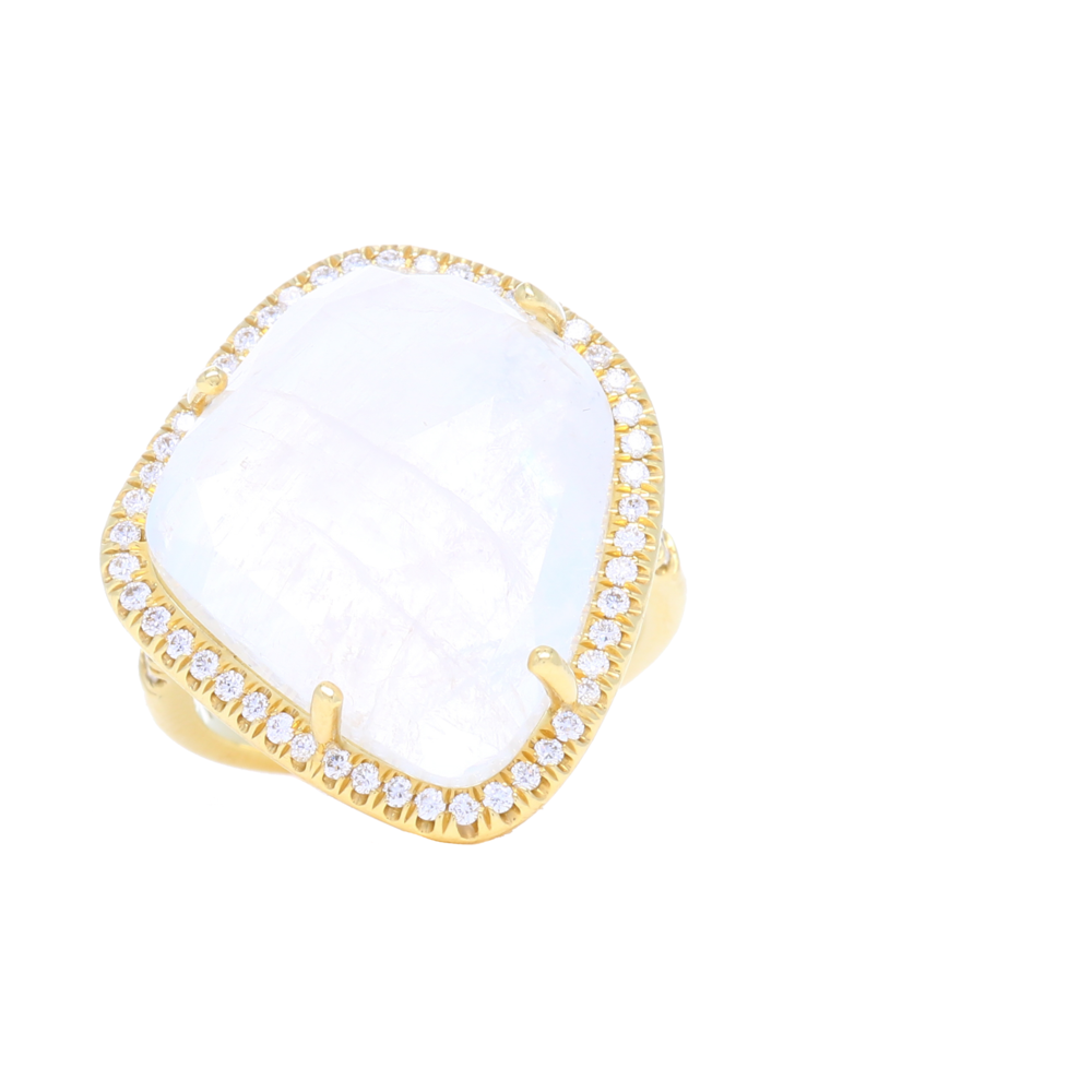 18k Abstract Moonstone Ring
