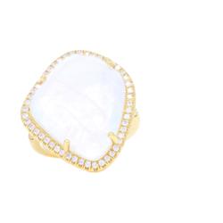 Closeup photo of 18k Abstract Moonstone Ring