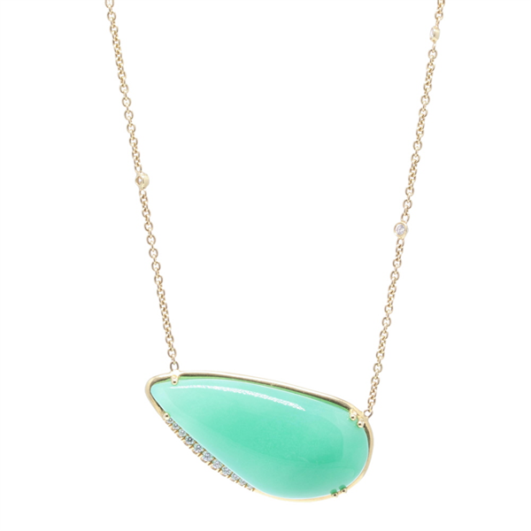 Closeup photo of 18k Yellow Gold Aqua Chalcedony and Diamond Pendant Necklace