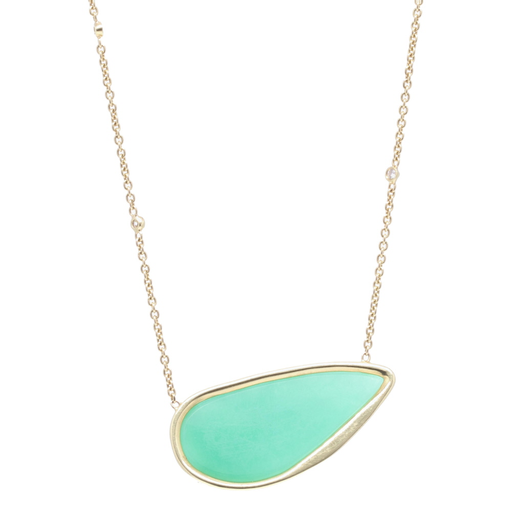 Image 2 for 18k Yellow Gold Aqua Chalcedony and Diamond Pendant Necklace