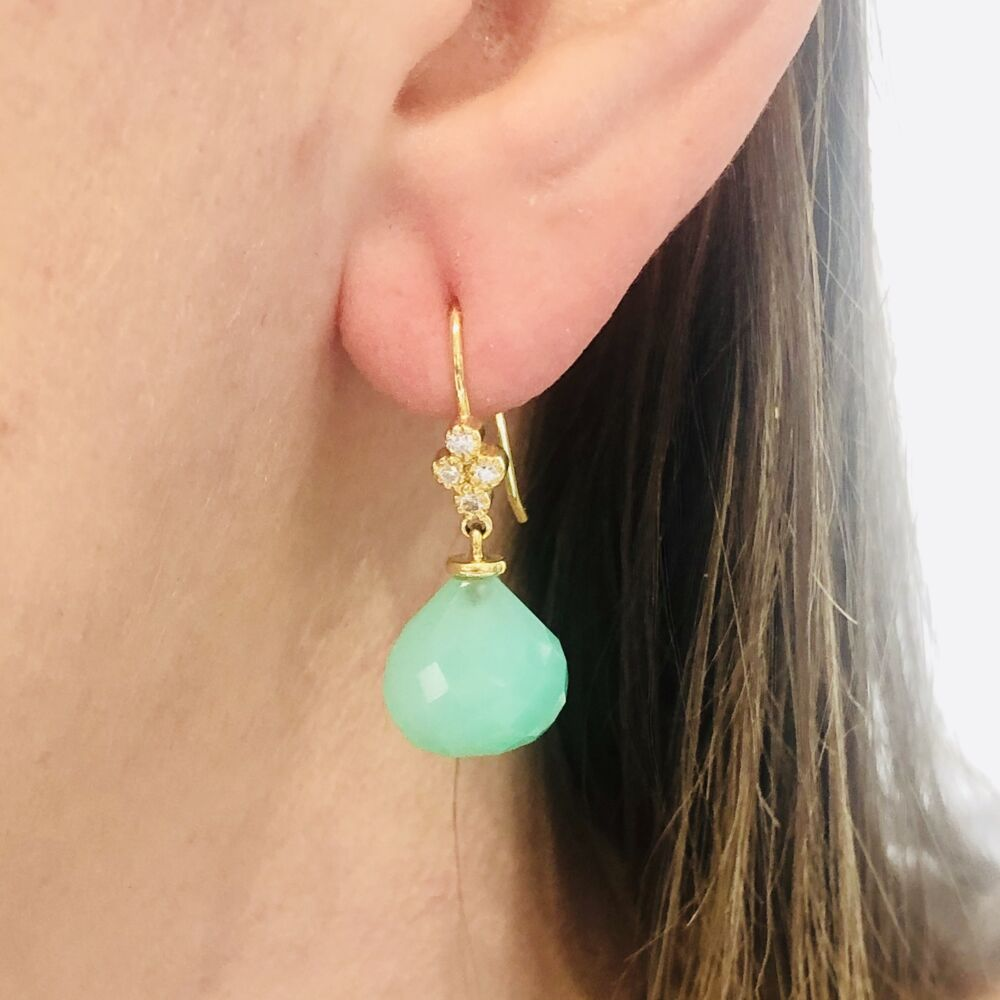 Image 2 for Petite Faceted Chalcedony and Diamond Drop Earrings