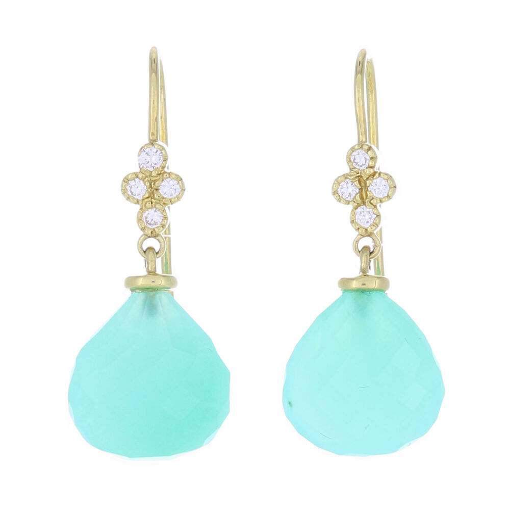 Petite Faceted Chalcedony and Diamond Drop Earrings