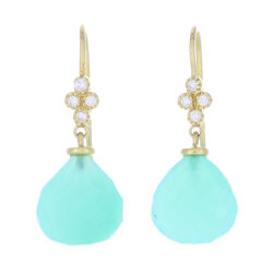 Closeup photo of Petite Faceted Chalcedony and Diamond Drop Earrings