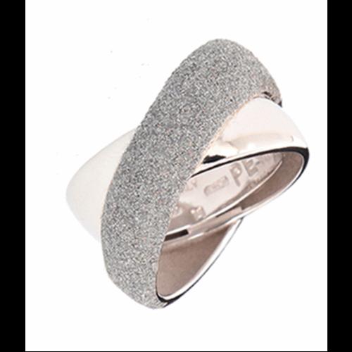 Small Crossover Ring Rhodium Light Gray Polvere