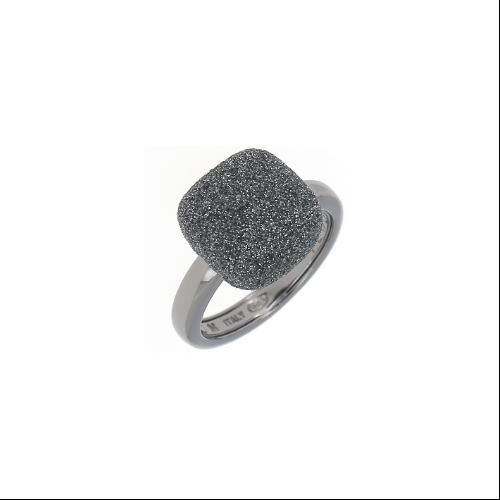 Prongless Square Cut Polvere Ring Ruthenium Dark Gray Polvere