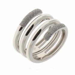 Closeup photo of Polvere Incontri Large Wrap Ring Rhodium Light Gray Polvere
