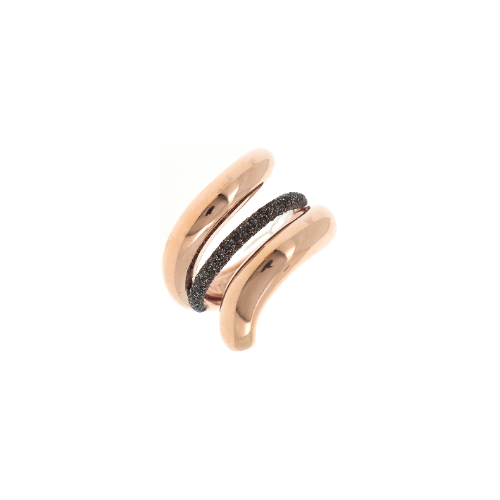 Small Metal Snake Ring w/Polvere Accent Rose Gold Dark Brown Polvere