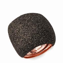 Closeup photo of Large Pillow Ring Rose Gold Dark Brown Polvere