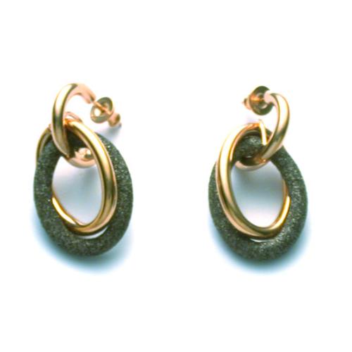 Double Oval Full Earring Rose Gold Antelope Polvere