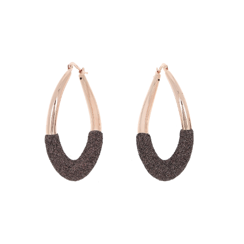 Dipped Teardrop Polvere Earring Rose Gold Dark Brown Polvere
