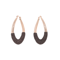 Closeup photo of Dipped Teardrop Polvere Earring Rose Gold Dark Brown Polvere