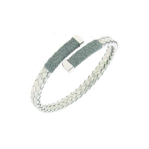 Closeup photo of Crossover Braided Polvere Cuff Rhodium Light Gray Polvere