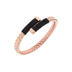 Closeup photo of Crossover Braided Polvere Cuff Rose Gold Dark Brown Polvere
