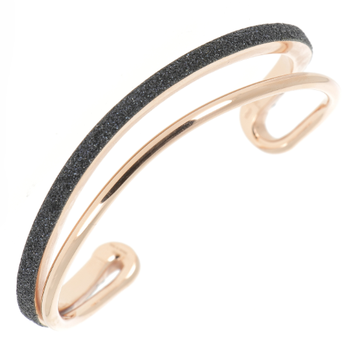 Closeup photo of Thin Asymmetrical Polvere Cuff Rose Gold Black Polvere