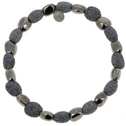 Closeup photo of Alternating Stones Bracelet Ruthenium Dark Gray Polvere