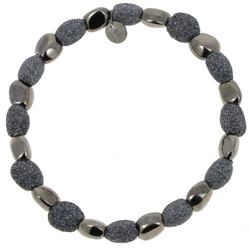 Closeup photo of Alternating Stones Bracelet Ruthenium Dark Gray Polvere