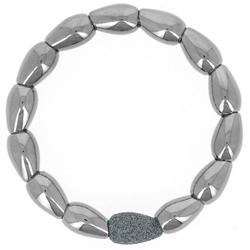 Closeup photo of Teardrop Shaped Metalworks Single Polvere Bracelet Ruthenium Dark Gray Polvere
