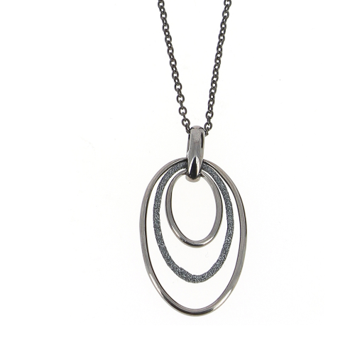 Polvere Tri Hoop Pendant Short Necklace Rhodium Dark Gray Polvere