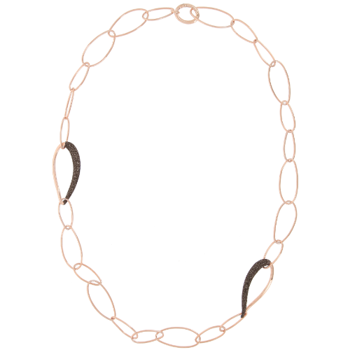 Oval Shape Linked Necklace w/Polvere Accents Rose Gold Dark Brown Polvere